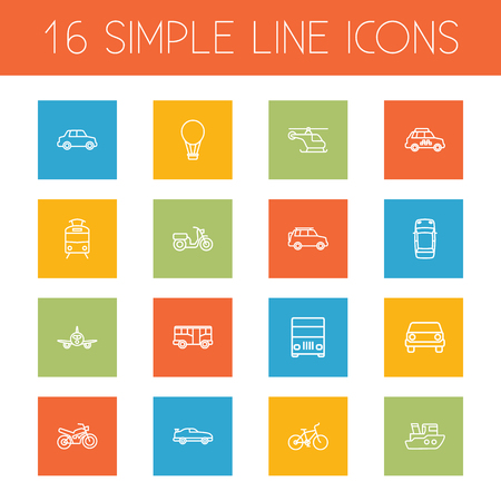 Set Of 16 Shipping Outline Icons Set.Collection Of Bike, Front View, Bus And Other Elements.