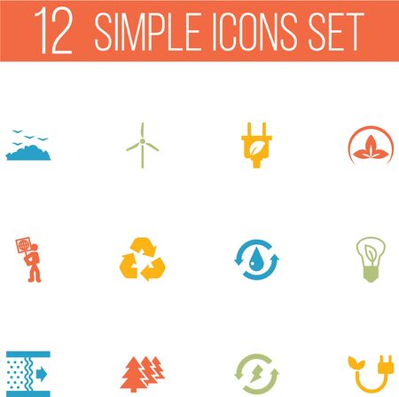 Set Of 12 Ecology Icons Set.Collection Of Volunteer, Energy, Treatment And Other Elements. 向量圖像