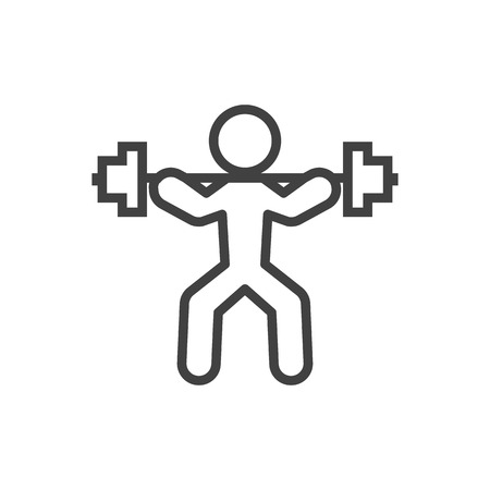 heavy: Isolated Weightlifting Outline Symbol On Clean Background. Vector Power-Lifting  Element In Trendy Style. Illustration