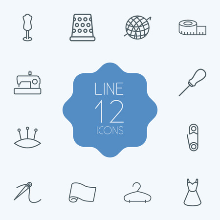 Set Of 12 Tailor Outline Icons Set.Collection Of Tremble, Pincushion, Crochet And Other Elements.