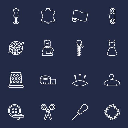 Set Of 16 Sewing Outline Icons Set.Collection Of Awl, Dress, Measuring Tape And Other Elements.