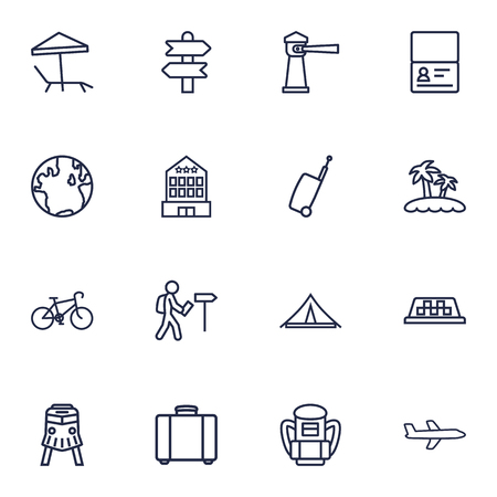 case: Set Of 16 Travel Outline Icons Set.Collection Of Foreigner, Palm, Certificate And Other Elements.