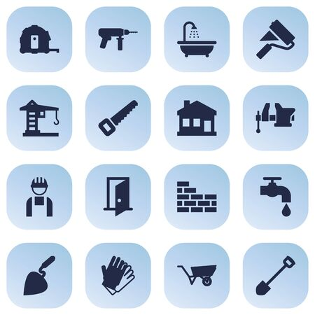 Set Of 16 Construction Icons Set.Collection Of Faucet, Entrance, Meter And Other Elements.