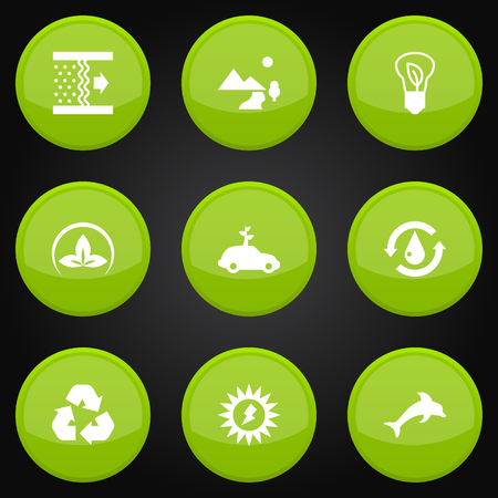 Set Of 9 Ecology Icons Set.Collection Of Saving, Car, Friendly And Other Elements. Çizim