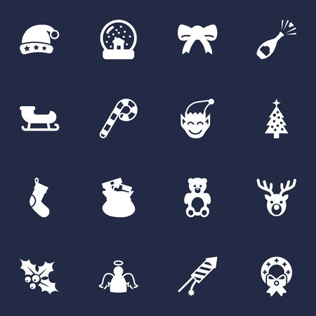 elves: Set Of 16 Year Icons Set.Collection Of Magic Sphere, Ilex, Socks And Other Elements.