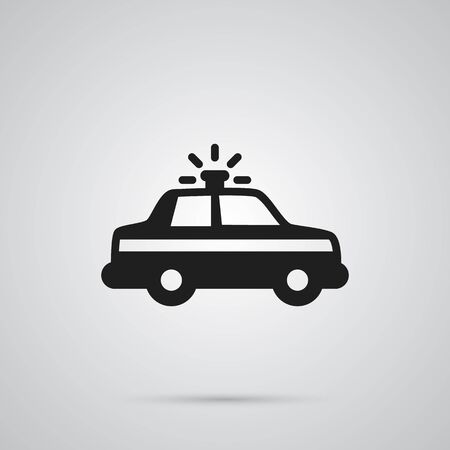 Isolated Automobile Icon Symbol On Clean Background. Vector Police Car Element In Trendy Style.