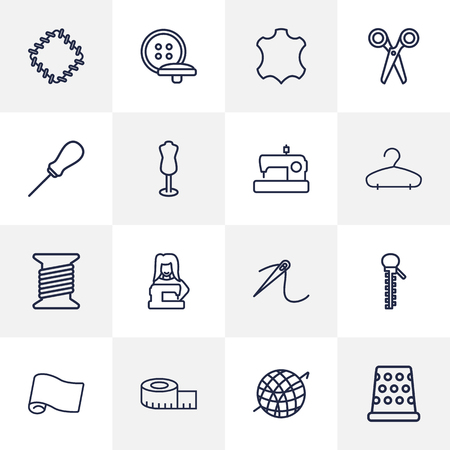 hangers: Set Of 16 Tailor Outline Icons Set.Collection Of Bobbin, Measuring Tape, Needle And Other Elements. Illustration