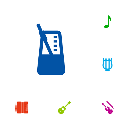 metronome: Set Of 6 Song Icons Set.Collection Of Lyre, Harmonica, Fiddle And Other Elements. Illustration
