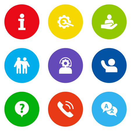Set Of 9 Support Icons Set.Collection Of Friendship, Help, Technical And Other Elements.