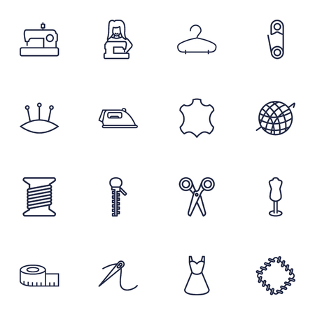 Set Of 16 Tailor Outline Icons Set.Collection Of Hanger, Sewing, Scissors And Other Elements.