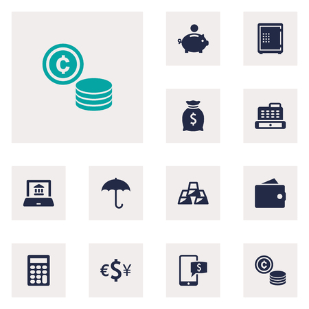 Set Of 12 Finance Icons Set.Collection Of Calculate, Sack, Purse And Other Elements.