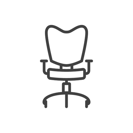 Isolated Office Chair Outline Symbol On Clean Background. Vector Workplace Element In Trendy Style.