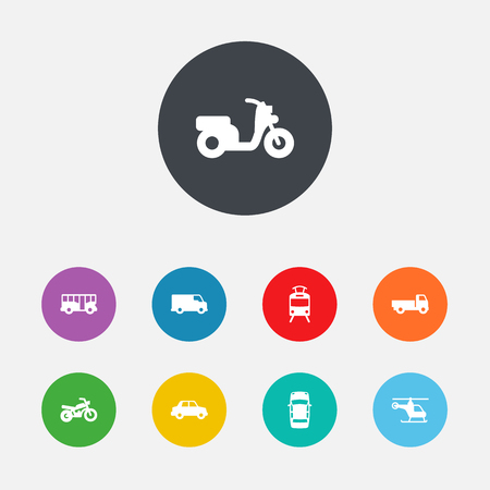 Set Of 9 Traffic Icons Set.Collection Of Panorama, Copter, Side View And Other Elements.