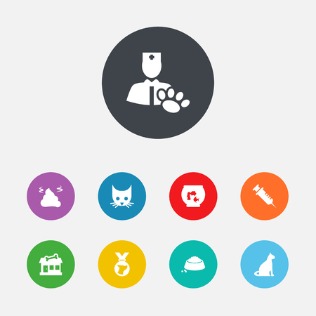 Set Of 9 Animals Icons Set.Collection Of Veterinarian, Medallion, Store And Other Elements.