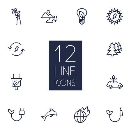 Set Of 12 Bio Outline Icons Set.Collection Of Plug, Landscape, Global Warming Elements. Ilustrace