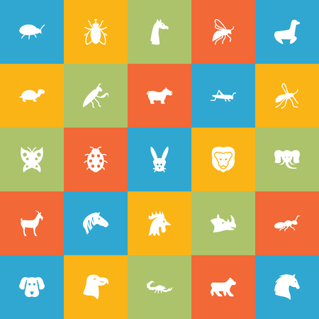 Set Of 25 Zoo Icons Set.Collection Of Rooster, Livestock, Gnat And Other Elements. Illustration