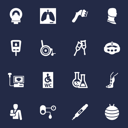 Set Of 16 Healthy Icons Set.Collection Of Injury, Machine, Flask And Other Elements. Illustration