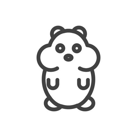 Isolated Rat Outline Symbol On Clean Background. Vector Hamster Element In Trendy Style.