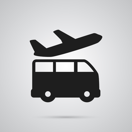 Isolated Bus Icon Symbol On Clean Background. Vector Airport Transfer Element In Trendy Style.