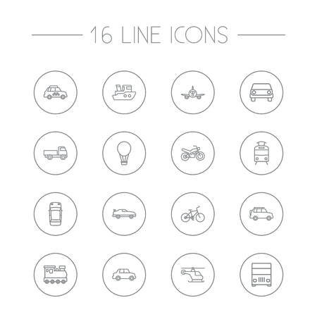 Set Of 16 Shipping Outline Icons Set.Collection Of Truck, Coupe, Car And Other Elements.