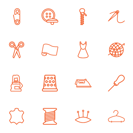 awl: Set Of 16 Stitch Outline Icons Set.Collection Of Pincushion, Needle, Iron And Other Elements.