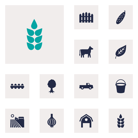 greenness: Set Of 12 Agricultural Icons Set.Collection Of Grain, Kine, Timber And Other Elements.