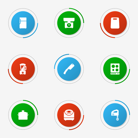 Set Of 9 Cooking Icons Set.Collection Of Balance, Refrigerator, Blender And Other Elements.