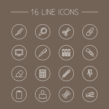 hole: Set Of 16 Instruments Outline Icons Set.Collection Of Cutter, Calculator, Puncher And Other Elements.