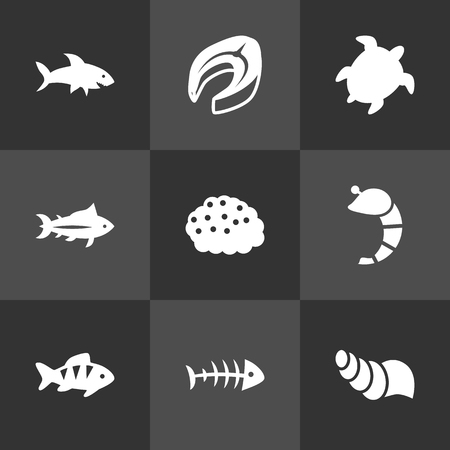 Set Of 9 Sea Icons Set.Collection Of Roe, Sink, Remains And Other Elements. Illustration