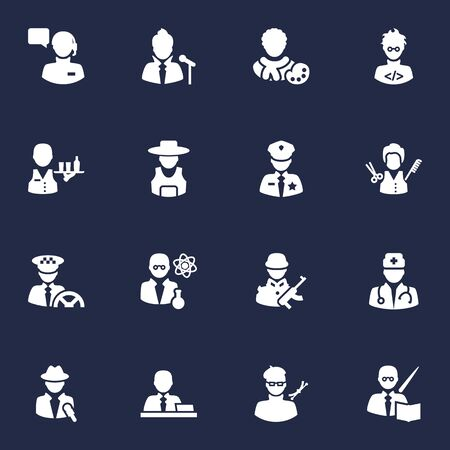 Set Of 16 Job Icons Set.Collection Of Rancher, Stylist, Driver And Other Elements.