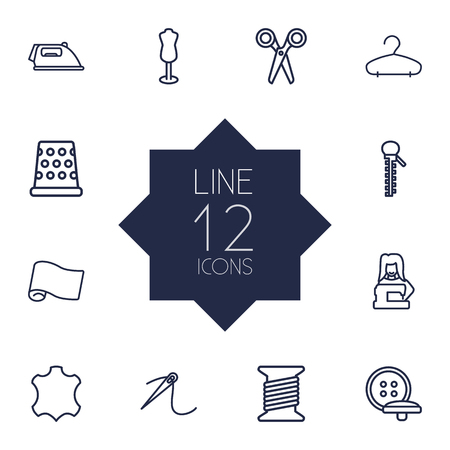 Set Of 12 Stitch Outline Icons Set.Collection Of Bobbin, Tremble, Tailor And Other Elements. Illustration