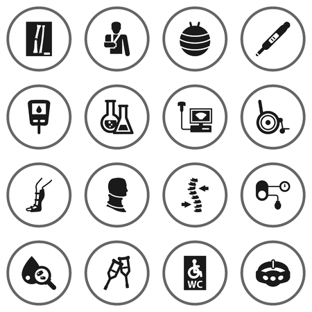 Set Of 16 Healthy Icons Set.Collection Of Slimming, Diabet, Spine And Other Elements.