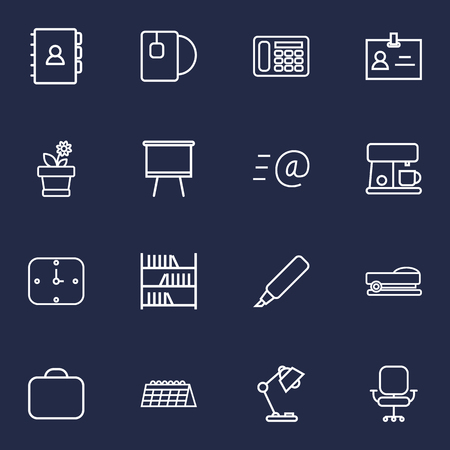 illuminator: Set Of 16 Office Outline Icons Set.Collection Of Bookshelf, Badge Id, Wall Clock And Other Elements.