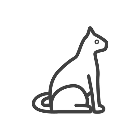 Isolated Sitting Outline Symbol On Clean Background. Vector Cat Element In Trendy Style.