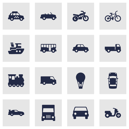 omnibus: Set Of 16 Shipping Icons Set.Collection Of Car, Autobus, Truck And Other Elements.
