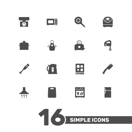 Set Of 16 Culinary Icons Set.Collection Of Refrigerator, Bread Heater, Pinafore And Other Elements. Illustration