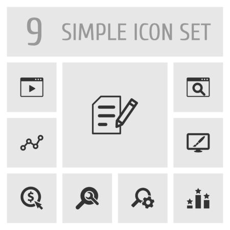 Set Of 9 Optimization Icons Set.Collection Of Click, Magnifier, Resulting And Other Elements. Illusztráció