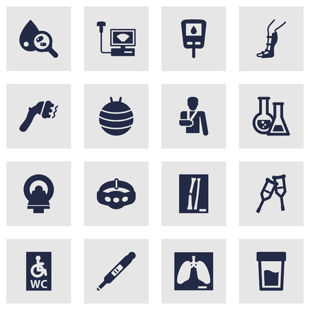 Set Of 16 Healthy Icons Set.Collection Of Slimming, Splint, Wheelchair Toilet And Other Elements. Illustration