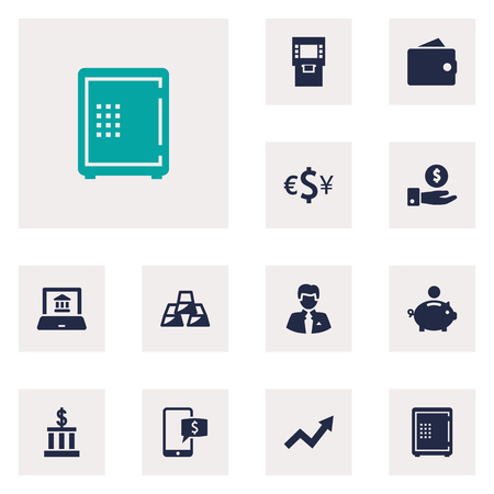 Set Of 12 Budget Icons Set.Collection Of Piggy Bank, Purse, Electron Report And Other Elements. Иллюстрация