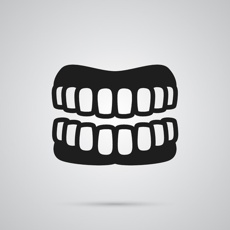 Isolated Denture Icon Symbol On Clean Background. Vector Prosthesis Element In Trendy Style. Illustration