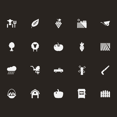Set Of 20 Harvest Icons Set.Collection Of Combine-Harvester, Rural, Hacksaw And Other Elements.