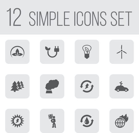Set Of 12 Ecology Icons Set.Collection Of Reforestation, Saving, Fan And Other Elements.