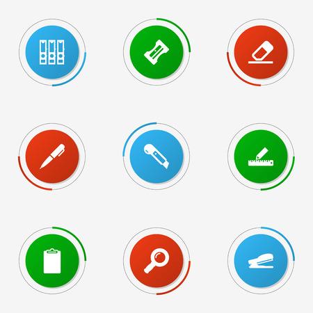 engrapadora: Conjunto de 9 iconos de papelería conjunto. Colección de suministros, puncher, lápiz y otros elementos.