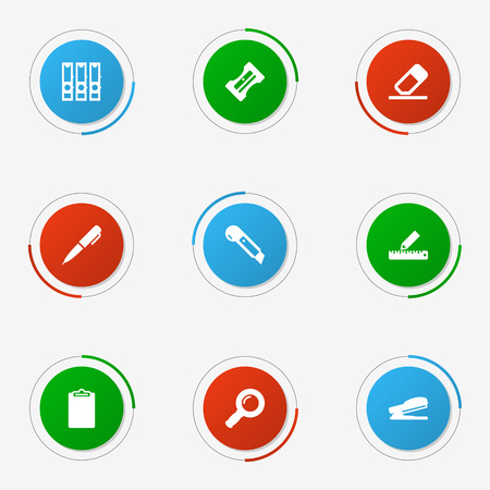 web directories: Set Of 9 Stationery Icons Set.Collection Of Supplies, Puncher, Pencil And Other Elements. Illustration