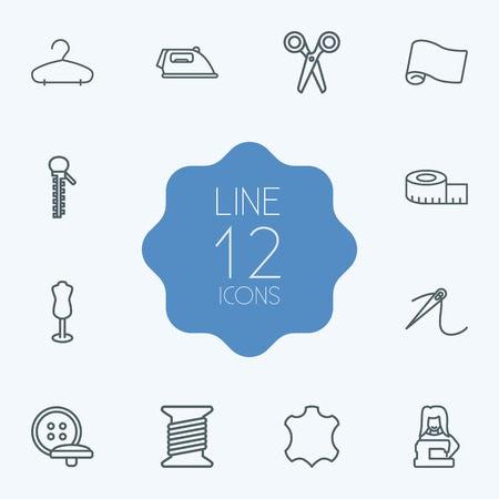 hangers: Set Of 12 Sewing Outline Icons Set.Collection Of Leather, Fabric, Iron And Other Elements.
