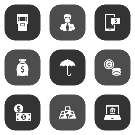 Set Of 9 Finance Icons Set.Collection Of Money, Electron Report, Online Banking And Other Elements.