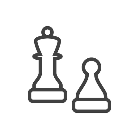 chessman: Isolated Checkmate Outline Symbol On Clean Background. Vector Chess Element In Trendy Style. Illustration