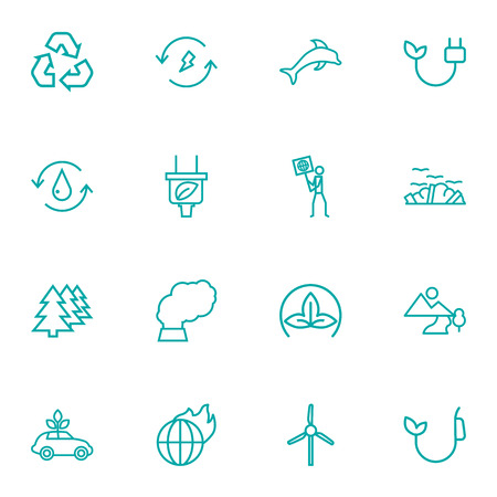 Set Of 16 Ecology Outline Icons Set.Collection Of Dolphin, Garbage, Plug And Other Elements.