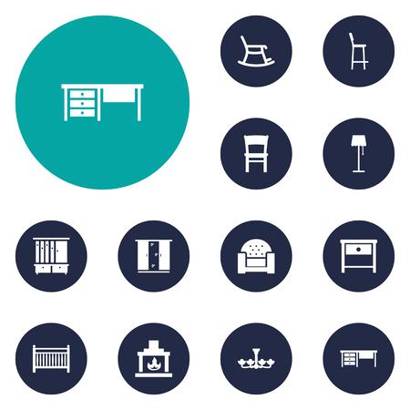 illuminator: Set Of 12 Set Icons Set.Collection Of Cot, Sofa, Illuminator And Other Elements.