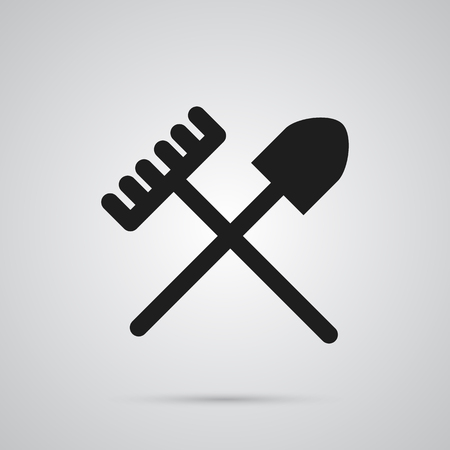 pitchfork: Isolated Shovel Icon Symbol On Clean Background.